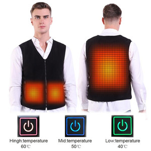 Wholesale USB Vest Heated Jacket Waistcoat Self Heating Clothing for hunting outdoor Fashion New Warm Tank Slim Men Black Clothes