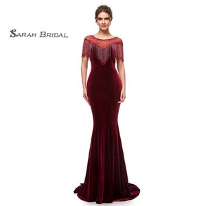 2019 Burgundy Velvet Sexy Mermaid Prom Dresses Jewel Neckline With Beads Formal Evening Party Gowns 5400 on Sale