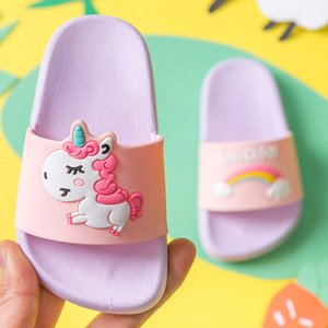 2019 new style Kids Girls Summer Flip Flops Boys Beach Wear Cartoon Striped Slippers Princess Girls Floral Sandals Flats on Sale