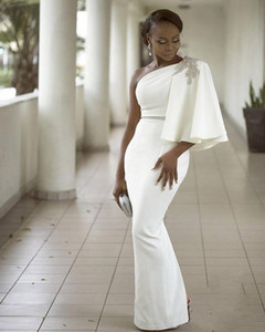 Evening Dresses Wear White One Shoulder Half Sleeves Mermaid Formal Beading African Dubai Women 2020 Long Sheath Prom Robe De Soiree Gown on Sale