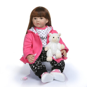 Bebe reborn 60CM high quality soft silicone reborn toddler girl doll in hoodie dress bebe doll reborn long hair doll 6-9M real baby size
