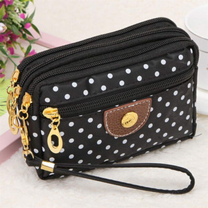 Fashion Women Canvas Dot Print Handbag Clutch Bag Female several layers Wave Zipper coin purse wallet for girls bolsos mujer #32250 on Sale