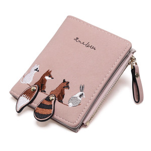 Wholesale Women s Wallet New Ins Purse Female Short Embroidered Small Animal Cute Fold Simple Student Ladies Wallet