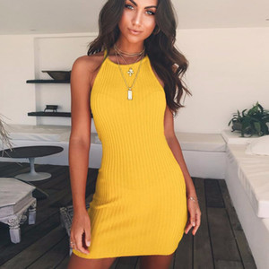 Wholesale L Women Casual Dress Elegant Wedding Party Sexy Night Club Black Yellow dress Halter Neck Backless Sleeveless Mini Dress
