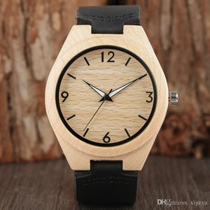 2018 Wooden Watch Black Genuine Leather Band Strap Mens Sports Watches Big Face White Analog Dial Quartz Wristwatch Simple Casual Clock