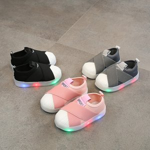 Children Sneakers Led Light Shoes Girl Luminescence Shell Head Elastic Catamite Flash Of Light Children's Shoes on Sale