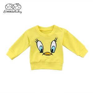 Wholesale Emmababy Warm Sweet Toddler Kids Baby Girls Boys Warm Casual Cartoon duck Print Tops T shirt Sweatshirts M T