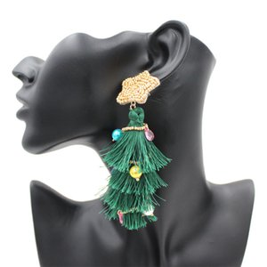 European Hot Sale Girl Eardrop Accessories Alloy Tassel Earrings christmas tree Ear Studs ear pendants Long Eardrop High Quality 09216