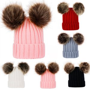 Wholesale Cute Parent Child Knit Hat Winter Warm Mom Baby Beanie Ski Cap Head Hooded Caps For Women Girls Kids With Hair Ball Party Hats WX9