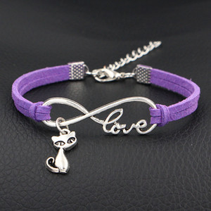 Wholesale 2018 Hot Sale Sterling Infinity Love Cute Cat Pendant New Fashion Purple Leather Bracelets For Women Men Jewellery Friendship Wrap Jewelry