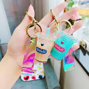 Wholesale Creative Mini Soft Drink Keychain Coconut Milk Beverage Bubble Acrylic Moving Liquid oil Drop decompression Jewelry gift