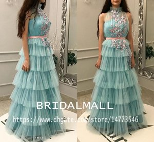 Wholesale High Neck Ice Blue Tulle African Evening Dresses With Hand Made Flowers Dubai Arabic Long Prom Dresses Tiered Skirts Party Dress Celebrity