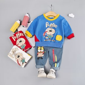 Wholesale baby clothes suit for years boy long sleeves cartoon partten t shirt jeans children clothing sets infant girl gift