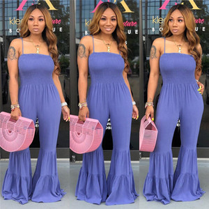 Designer Women Jumpsuit Romper Luxury Coveralls Sleeveless Candy Color Strapless Off Shoulder Fashion Brand Trumpet Jumpsuit Leggings CZ521