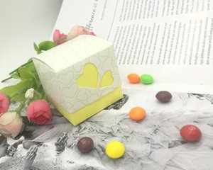 Wholesale Yellow Hollowed Heart Wedding Favor DIY Box Gift Jewelry Candy Box