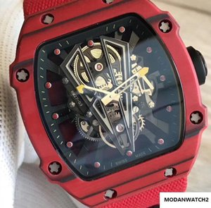 Top Luxry 27-03 NTPT Carbon Fiber Red Case Skeleton Perspective Automatic Mens Fashion Watch Ribbon Nylon Strap Casual Men Wristwatch on Sale