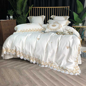 Wholesale bedding sets boxing for sale - Group buy White Grey Duvet Cover set with Gold Lace TC Egyptian Cotton Embroidery Bedding Set Bed sheet Pillowcase Gift Box