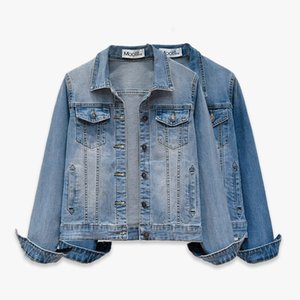 Wholesale Spring Autum Jeans Jacket Women Clothes Denim Jacket Korean Vintage Coat Outwear Slim Blue Coats Jaqueta Feminine ZT2703
