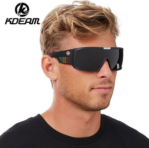 Wholesale KDEAM Outdoor Oversized Shield Dragon Sunglasses Men Single Lens Steampunk Goggles Surfing Glasses KD2514