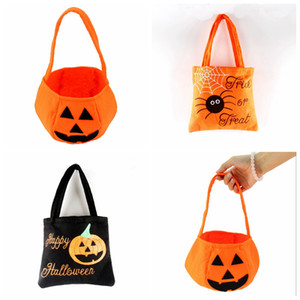 Wholesale Halloween Pumpkin Candy Bag Trick Face Expression Basket Children Gift Handhold Pouch Tote Bag Non woven Pail Props Decoration Toy RRA2084