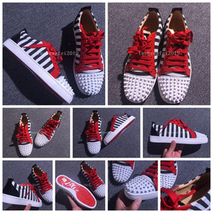 Original brand designer shoes sneakers men womens bottom fashion cl party Lovers Genuine Leather Sneakers white balck red3025 casual worker