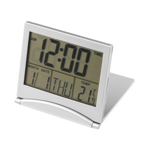 Wholesale 1Pc Mini Single Face Calendar Alarm Clock Desk Digital LCD Display Cover Display Date Time Temperature Flexible