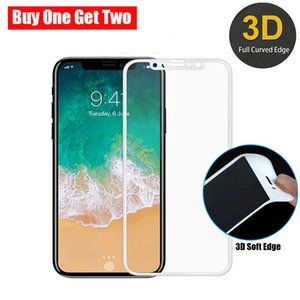 Wholesale 3D Carbon Fiber Tempered Glass For iPhone XS MAX XR X Plus Screen Protectors Soft Edge Explosion proof Pack