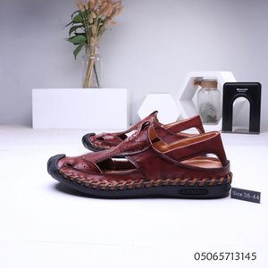 Wholesale VANSISCOU Top Quality Men Sandals Cool Summer Genuine Leather Light Weight Male Male Slippers Sandals Flat for slipper for men mans
