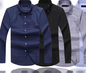 Wholesale Mens Designer Dress Shirts High Quality Business Polo Shirt Pony Embroidery Brand White Shirt Ralph Luxury Lauren Men Shirts