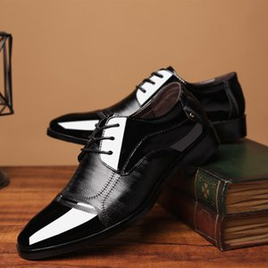 Wholesale 2019 New Genuine Patent Leather And Nubuck Leather Patchwork With Bow Tie Men Wedding Black Dress Shoes Men s Banquet Loafers