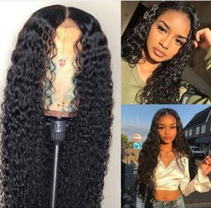Europe and the United States hot black lady wig in the long curly hair small volume wave front lace wig headgear Hair Products on Sale