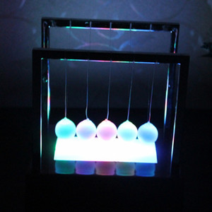 Wholesale newtons cradle resale online - Newtons Balance Ball LED Pendulum Early Educational Cradle Balance Colorful Balls Desk Decor Toys inch DH1091
