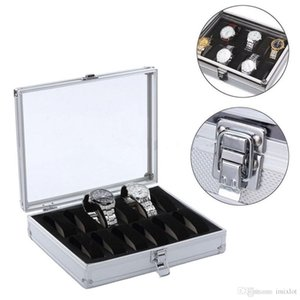 12 Grid Slots Jewelry Display Boxes Wrist Watch Display Box Storage Holder Organizer Case Aluminium 26*21*6.7cm