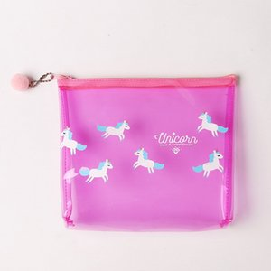 Wholesale Selling Stuff Transparent fashion Portable Fresh Cartoon Washing Bag Lovely Transparent Travel printed Bag Transparent Cosmetic Bag Portable