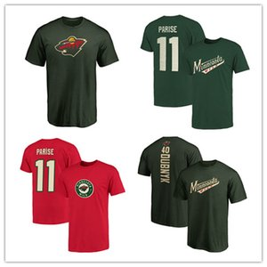 Men's Minnesota Wild T-Shirt 11# Zach Parise #7 Matt Cullen 40# Devan Dubnyk 18 19 Stanley Cup Playoffs Hockey Jerseys Cheap printed Logos on Sale