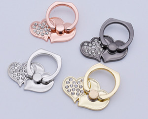Wholesale Universal Degree Double Love Heart Shape Finger Ring Holder Crystal Ring Phone Holder Stand Phone Holder For Samsung IPHONE HUAWEI
