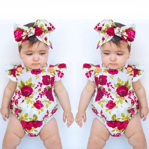 Wholesale Ins children's clothing 2019 cheap explosion summer girls flower print baby jumpsuit triangle romper jumpsuit outfit