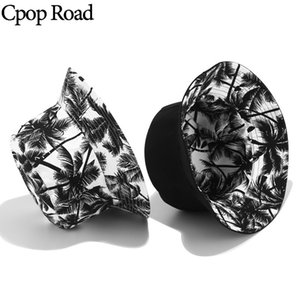 Wholesale Cpop New Fashion Canvas Bucket Hats High Quality Coconut Tree Print Female Simple Personality Elegant Women Accessories Hat Gift