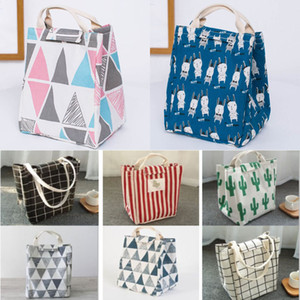 Wholesale designer bags for sale - Group buy Reusable Lunch Bag Insulated Lunch Box Canvas Fabric Aluminum Foil Striped Grid cactus Lunch Tote Handbag For Adult School Office WX9