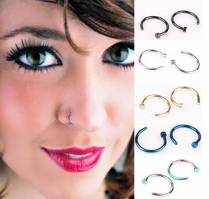 Wholesale nose piercings hoops for sale - Group buy Trendy Nose Rings Body Piercing Jewelry Fashion Jewelry Stainless Steel Nose Open Hoop Ring Earring Studs Fake Nose Rings Non Piercing Rings