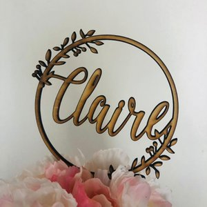 Wholesale Rustic Wooden Personalized Name Wreath Cake Topper Custom Birthday Cake Topper Happy Birthday Party Wedding Decoration