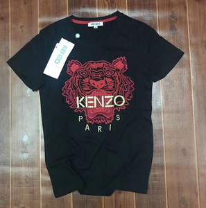 Fashion Designer KENZO T-shirt Tiger Head Letter Embroidered T-Shirt Men's and Women's Brand Short Sleeve T-Shirt S-2XL