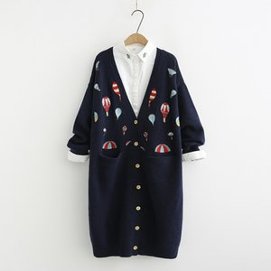Wholesale Heavy duty color hot air balloon embroidery long Cardigan sweater mori girl autumn winter