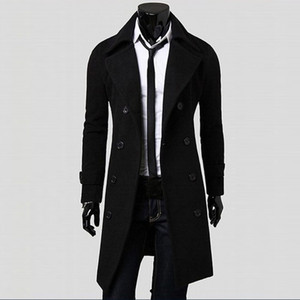 Coat Men Winter Long Coat Slim Stylish Trench Double Breasted Long Jacket Parka Mens Overcoat