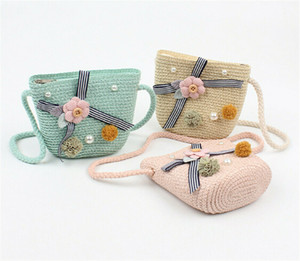 Wholesale Cute Children Baby Straw Beach Bag Cute Messenger Bag Kids Coin Purse Beige Pink White