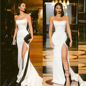 Chic Strapless Special Occasion Dress Formal High Split Evening Prom Dresses Sheath Mermaid 2019 Sexy Backless Vestidos Sheath Party Gown on Sale