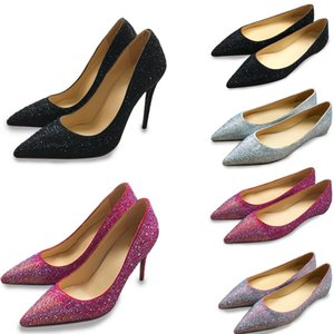 Wholesale Designer Women High Heels Shoes Red Bottom Real Leather Crystal Pointed Toe Pumps cm Sexy Girl Wedding Shoes Party Dress shoes US
