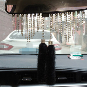 Wholesale Car Styling Rearview Mirror Plush Ornaments Car Diamond Pendant Rearview Mirror Charm Crystal ornaments Gift