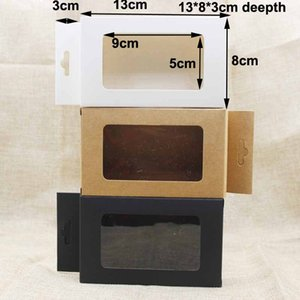 Feiluancustom black kraft white paper hanger window box gift box package for favors mobile phone case underwear display 100pcs