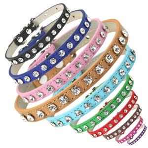 Wholesale material dog collars resale online - Shining Rhinestone Cat Collar Colors PU Material Pet Collar Neck Adjustable Cat Dog Collars Kitten Puppy Accessories